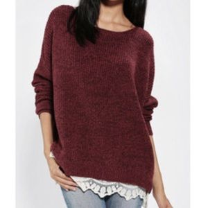 UO PINS AND NEEDLES lace trim sweater